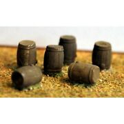 Painted 4 X Large Wooden Oak Barrels N Scale 1/148th - Langley A86p