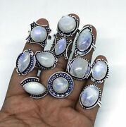 Natural Fire Moonstone Gemstone 925 Sterling Silver Overlay Rings Wholesale Lot
