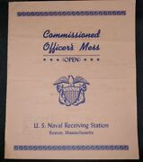 Vintage Navy Menu Commissioned Officers Mess Naval Receiving Station Boston Ma