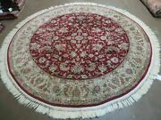 6' Hand Made Fine Chinese Floral Oriental Wool And Silk Rug Carpet Round Wine Red