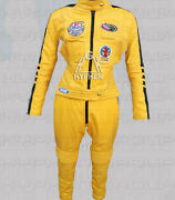 New Woman Kill Bill Movie Yellow Cowhide Biker Motorcycle Leather Two Piece Suit