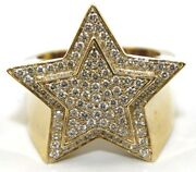 Round Diamond Cluster Star Hip Hop Menand039s Ring Band 14k Yellow Gold 1.72ct