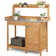 Garden Potting Bench Table Outdoor Work Bench W/metal Tabletop Natural Wood