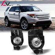 For Ford Explorer 11-15 Clear Lens Pair Bumper Fog Light Lamp Replacement