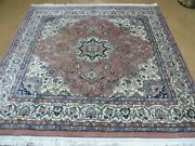 6and039 X 6and039 Vintage Hand Made India Oriental Wool Rug Rare Size Hand Knotted Nice
