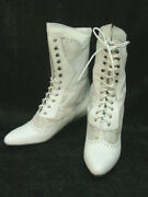 Oak Tree Farms White Leather And Lace Cowgirl Old West Granny Vintage Style 6
