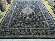 8and039 X 11and039 Vintage Hand Made Chinese Oriental Allover Wool Rug Carpet Deer Blue