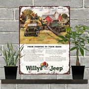 1945 Willys Jeep Ad From Farmer To Farm Hand Mancave Metal Sign 9x12 60677