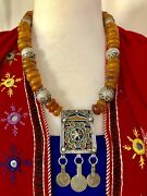 Moroccan Hirz Prayer Box Amulet Pendant Coins, African Amber And Tagmoute Beads.
