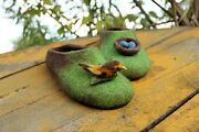 Bird And Nest Custom Slippers, Handmade Natural Wool Felted Shoes, Miniature