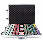 New 1000 Poker Knights 13.5g Clay Poker Chips Set With Rolling Case - Pick Chips
