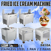 Commercial Fried Ice Cream Machine Round Pan W/ Control Pedal Sorbet Juice