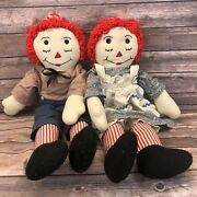 Vintage Antique Raggedy Ann Andy Handmade Plush Doll Clothes Bloomers Heart