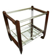 Vintage Wooden Bar Cart Trolley Cocktail Island Mirrored Glass Serving Tray Wow