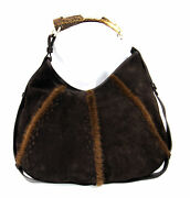 Ysl 'mombasa' Hobo Bag W/ Horn Handle And Mink Accents