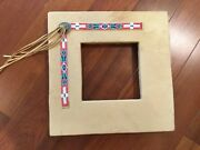 Vintage Native American Leather Beaded Picture Frame Western Decor
