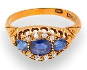 Antique 18ct Yellow Gold Sapphire And Diamond Three Stone Ring Size Q 9mm Widest