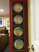 4 Franklin Mint Solid Sterling Silver And Gold Bicentennial Series Plates