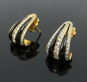 Vintage 1.00ct Diamond And Onyx Yellow Gold Triangle Shape Earrings