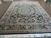 8and039 X 10and039 Vintage Hand Made Pakistani Floral Wool Rug Black Nice