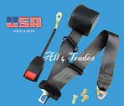 1 Kit Of 3 Point Strap Retractable And Adjustable Safety Seat Belt Black