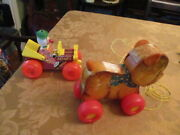 2 Vintage Fisher Price Toys Jalopy Car 724 And Cry Baby Bear 711 Both Pull Toys