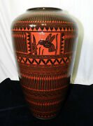 18 Navajo Etched Hummingbird And Flower Black Gloss Glazed Red Clay Pottery Vase