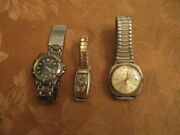 3 Vintage Rare Watches Gruen Guilotte,elgin And Outrigger For Repairs Great Price