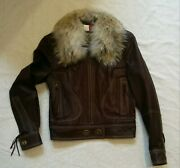 Nwt Coach Legacy Brown Leather Motorcycle Jacket Coyote Fur Collar Sz 6 1198