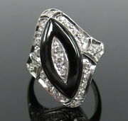 Antique 0.40ct Old Cut Diamond And Onyx 18k White Gold Ring Size 5.5