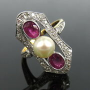 Antique 6.5mm Natural Pearl 0.60ct Diamond And 0.80ct Ruby 18k White And Yellow Gold