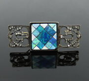 Vintage 0.60ct Rose Cut Diamond And Opal Inlay Silver And Gold Decorative Brooch
