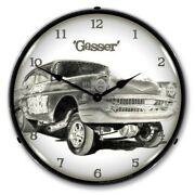 Retro Nostalgic Gasser Led Lighted Muscle Car Man Cave Game Room Wall Clock New