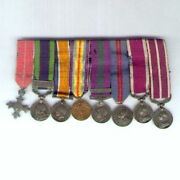 Period Miniature Military M.b.e. And Meritorious Service Medal Group Of Eight