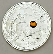 2002 Poland 10 Zlotych .925 Silver World Cup Soccer Proof Coin Korea/japan 31v
