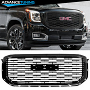 Fits 15-20 Gmc Yukon Xl Denali Style Front Hood Grille Replacement Black - Abs