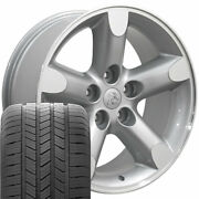 20 Rims Tires Fit Dodge Ram Jeep Chrysler Silver Machand039d Wheels Gy Tires 2267