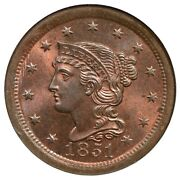 1851 N-1 R-3 Ngc Ms 66 Rb Braided Hair Large Cent Coin 1c
