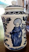 Delft Blue Gracefully Painted Covered Porcelain Jar/numbered/artist Id/holland