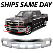 New Chrome Front Steel Bumper Face Bar For 2014 2015 Chevy Silverado 1500 W/ Fog