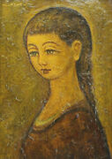 Jean Lareuse French 1925 Oil Painting Portrait Of Braided Hair Woman