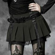 Punk Rave Gothic Sexy Mini Black Lace Pleated Skirt With Straps Womens Skirts