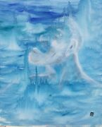 Blue Abstract Surrealism Painting Art Man In The Moon Sky Mythological Portrait