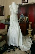 La Sposa Wedding Gown Size 6 Us Long Satin Beaded Dress Discontinued