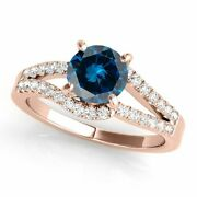 1.50 Ct. Ttw Blue Diamond Engagement Ring In 14k Rose White And Yellow Gold
