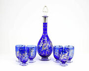 7pc. Blue Art Glasses And Decanter With Silver Overlay On Clear Glass Basesc1940