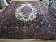 9and039 X 12and039 Antique India Oriental Floral Medallion Hand Made Wool Rug Organic Dye