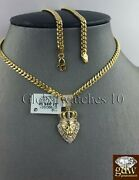 10k Gold And Diamond Lion's Head Charm With 26 Inch Miami Cuban Chain, Men, Real.