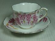 Royal Stafford Wistaria Cup And Saucer Pink/red Hanging Flowers Gold Trim