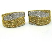 Round Yellow Sapphire And Diamond Bypass Omega Earrings 18k Yellow Gold 3.48ct